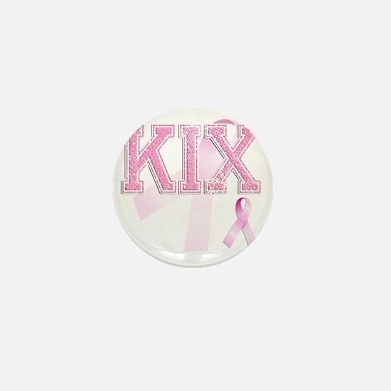 KIX initials, Pink Ribbon, Mini Button
