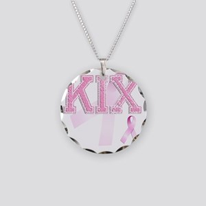 KIX initials, Pink Ribbon, Necklace Circle Charm