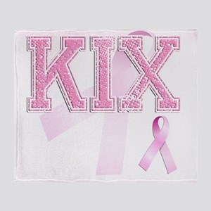 KIX initials, Pink Ribbon, Throw Blanket