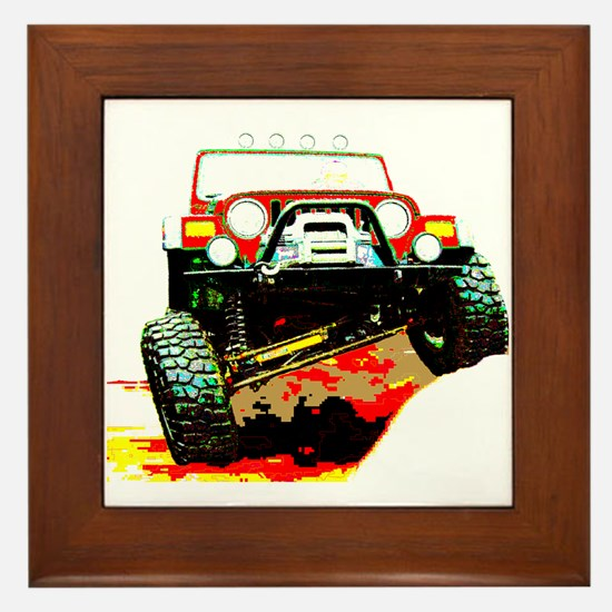 Jeep rock crawling Framed Tile