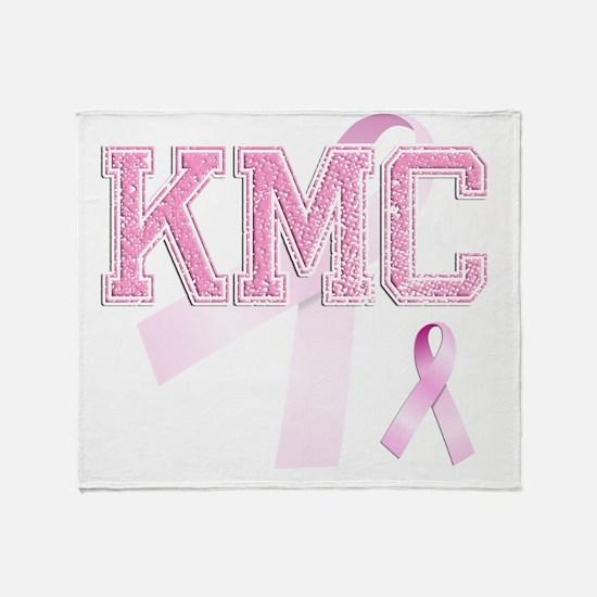 KMC initials, Pink Ribbon, Throw Blanket