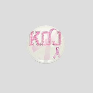 KOJ initials, Pink Ribbon, Mini Button