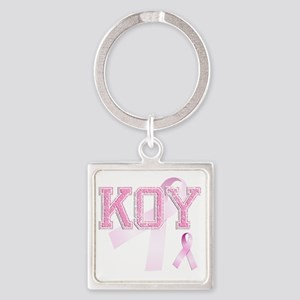 KOY initials, Pink Ribbon, Square Keychain