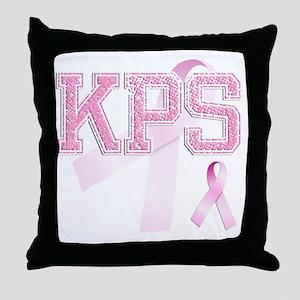 KPS initials, Pink Ribbon, Throw Pillow