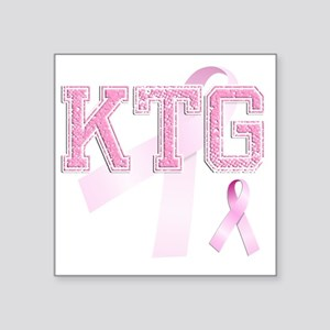 "KTG initials, Pink Ribbon, Square Sticker 3"" x 3"""