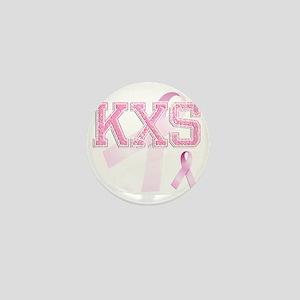 KXS initials, Pink Ribbon, Mini Button