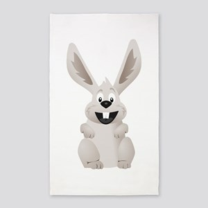 """HAPPY EASTER"" GRAY BUNNY Area Rug"