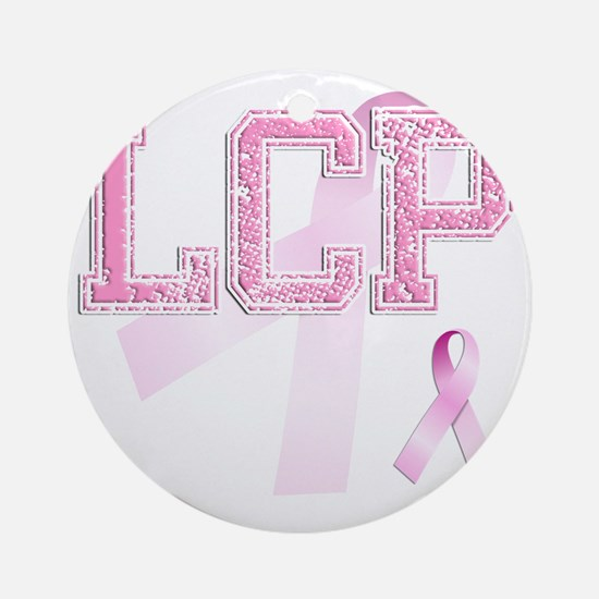 LCP initials, Pink Ribbon, Round Ornament