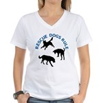 Rescue Dogs Rule Women's V-Neck T-Shirt