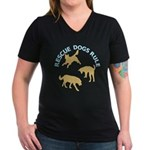 Rescue Dogs Rule Women's V-Neck Dark T-Shirt