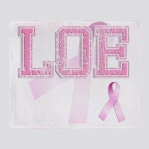 LOE initials, Pink Ribbon, Throw Blanket