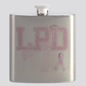 LPD initials, Pink Ribbon, Flask