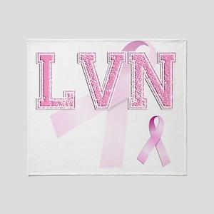 LVN initials, Pink Ribbon, Throw Blanket