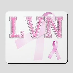 LVN initials, Pink Ribbon, Mousepad
