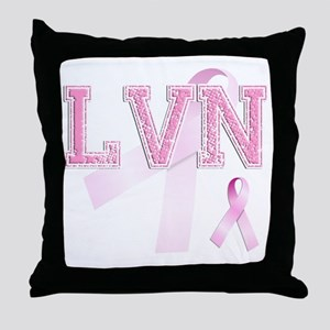 LVN initials, Pink Ribbon, Throw Pillow