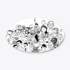 RAGE FACES Oval Car Magnet