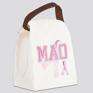 MAO initials, Pink Ribbon, Canvas Lunch Bag