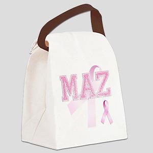 MAZ initials, Pink Ribbon, Canvas Lunch Bag