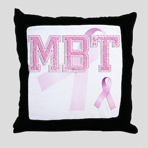MBT initials, Pink Ribbon, Throw Pillow