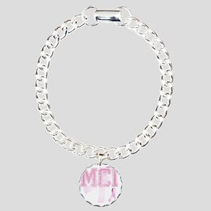 MCI initials, Pink Ribbo Charm Bracelet, One Charm