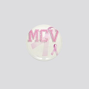 MCV initials, Pink Ribbon, Mini Button