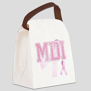 MDI initials, Pink Ribbon, Canvas Lunch Bag