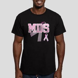 MDS initials, Pink Rib Men's Fitted T-Shirt (dark)
