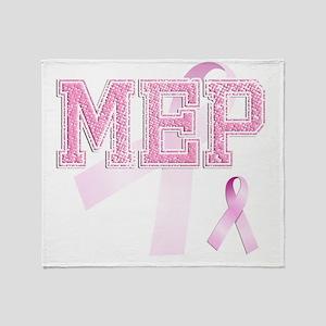 MEP initials, Pink Ribbon, Throw Blanket