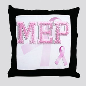 MEP initials, Pink Ribbon, Throw Pillow