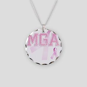 MGA initials, Pink Ribbon, Necklace Circle Charm
