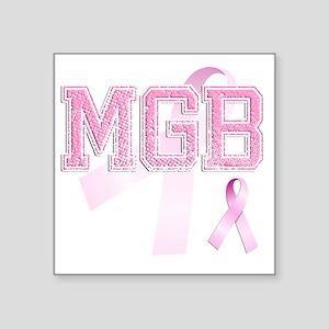 """MGB initials, Pink Ribbon, Square Sticker 3"""" x 3"""""""