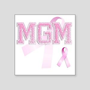 """MGM initials, Pink Ribbon, Square Sticker 3"""" x 3"""""""