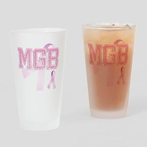 MGB initials, Pink Ribbon, Drinking Glass