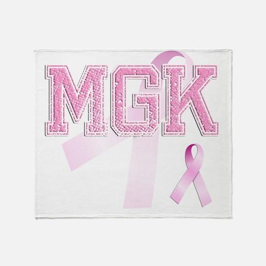 MGK initials, Pink Ribbon, Throw Blanket
