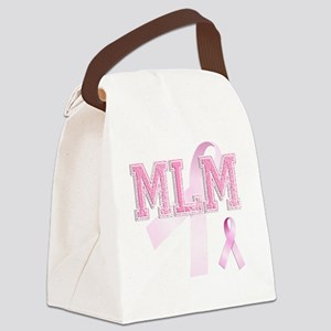 MLM initials, Pink Ribbon, Canvas Lunch Bag