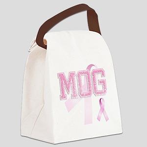 MOG initials, Pink Ribbon, Canvas Lunch Bag