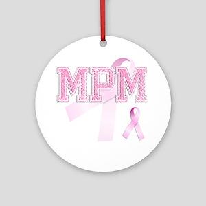 MPM initials, Pink Ribbon, Round Ornament