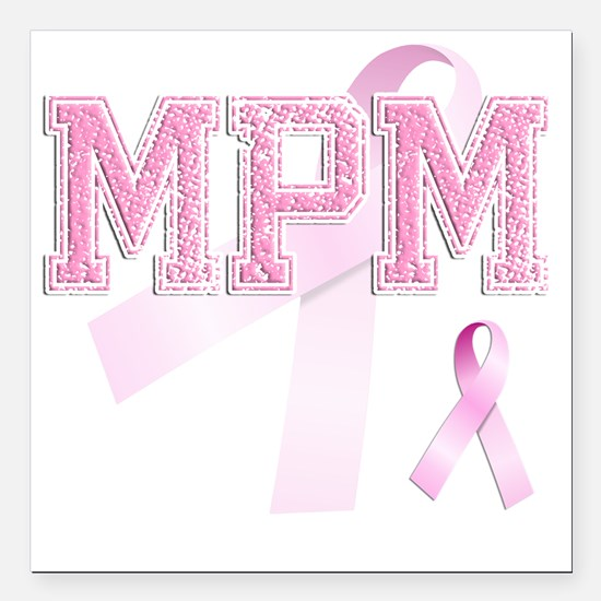 "MPM initials, Pink Ribbo Square Car Magnet 3"" x 3"""