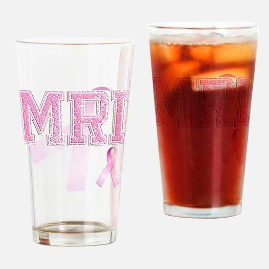 MRI initials, Pink Ribbon, Drinking Glass