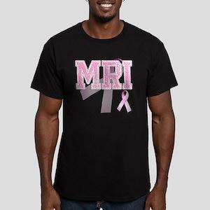 MRI initials, Pink Rib Men's Fitted T-Shirt (dark)