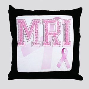 MRI initials, Pink Ribbon, Throw Pillow