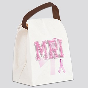 MRI initials, Pink Ribbon, Canvas Lunch Bag