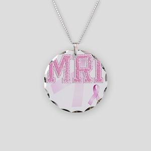 MRI initials, Pink Ribbon, Necklace Circle Charm
