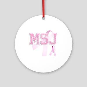 MSJ initials, Pink Ribbon, Round Ornament