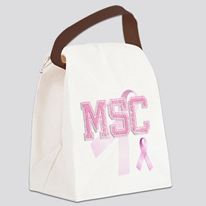 MSC initials, Pink Ribbon, Canvas Lunch Bag