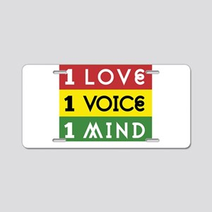 NEW-One-Love-voice-mind3b Aluminum License Plate