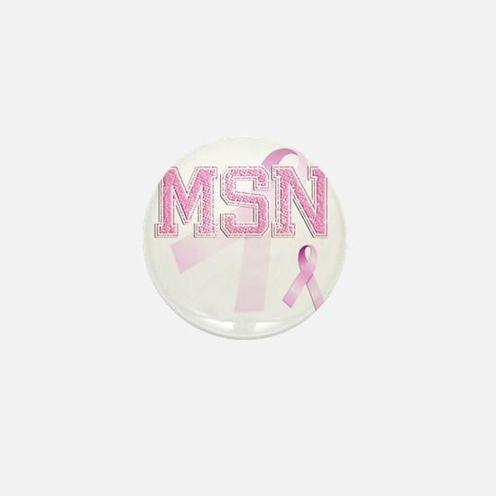 MSN initials, Pink Ribbon, Mini Button