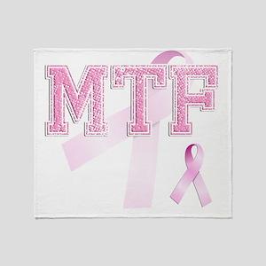 MTF initials, Pink Ribbon, Throw Blanket