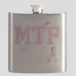 MTF initials, Pink Ribbon, Flask