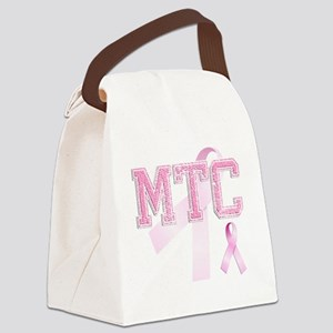 MTC initials, Pink Ribbon, Canvas Lunch Bag